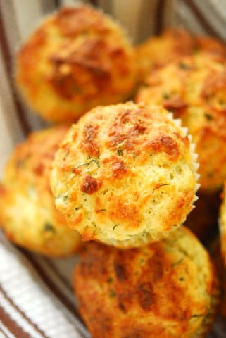 Tops down view of Herbs and Cheese Muffins