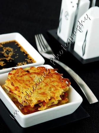 Potato Latkes with Soy Garlic Sesame Sauce