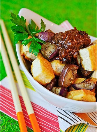 Pan-Fried Eggplant and Tofu with Garlic Black Bean Sauce