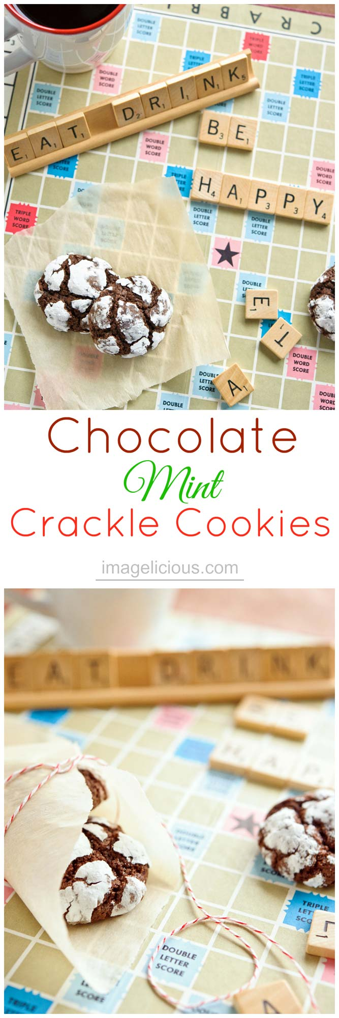Chocolate-Mint Crackle Cookies - perfect little mint cookies to make during winter holidays | Imagelicious | #mint #holidaycookies #holidaybaking #holidayrecipe #baking #holidays #cookies #chocolate