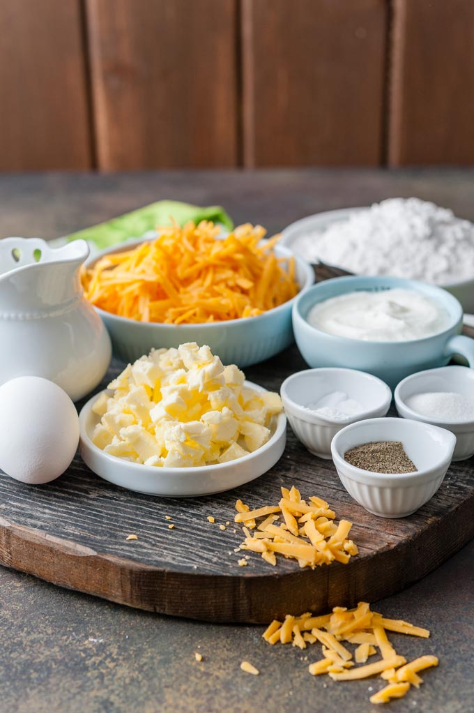 All the ingredients to make Cheddar Soda Bread