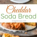 This Cheddar Soda Bread is really easy and fast to make any day of the week. Customize it with different cheese or add herbs. One-bowl recipe without any fuss. Perfect for dinner or snack | imagelicious.com #sodabread #quickbread #cheesebread