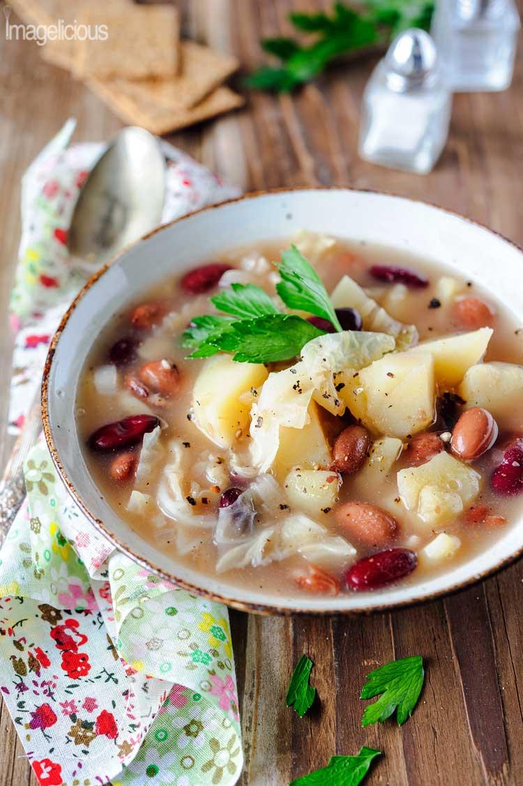 Potato, Bean and Savoy Cabbage Vegan Soup - Imagelicious.com