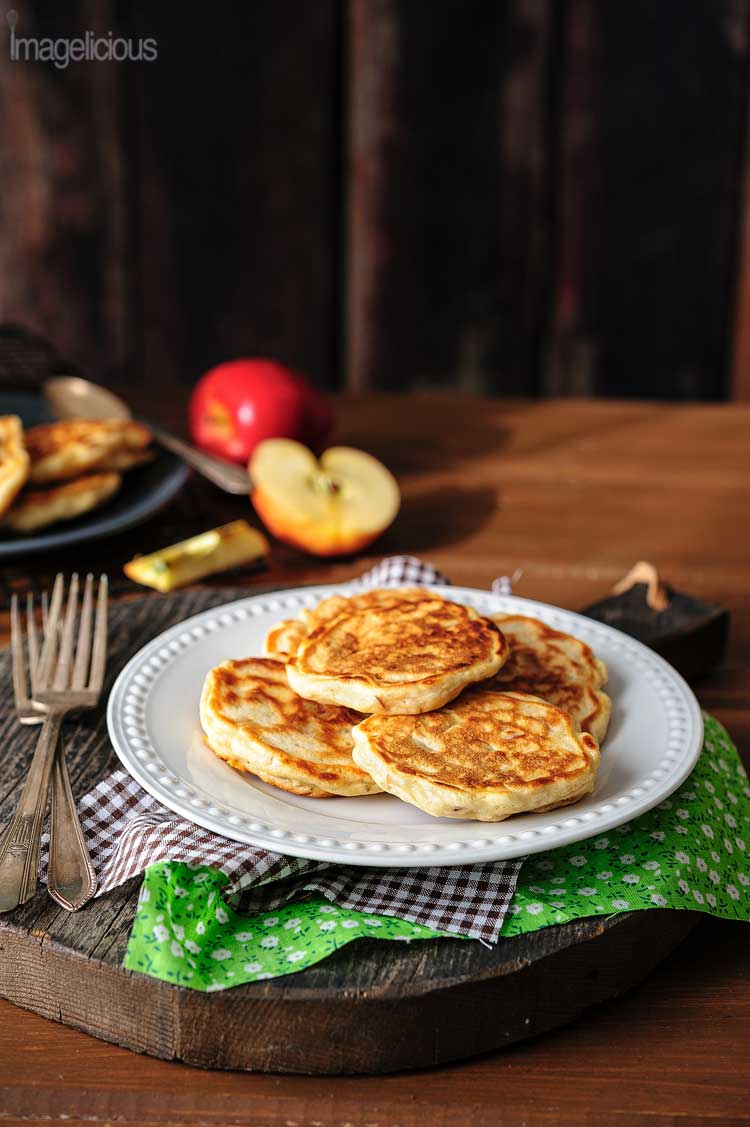 Plate with Buttermilk apple pancakes.