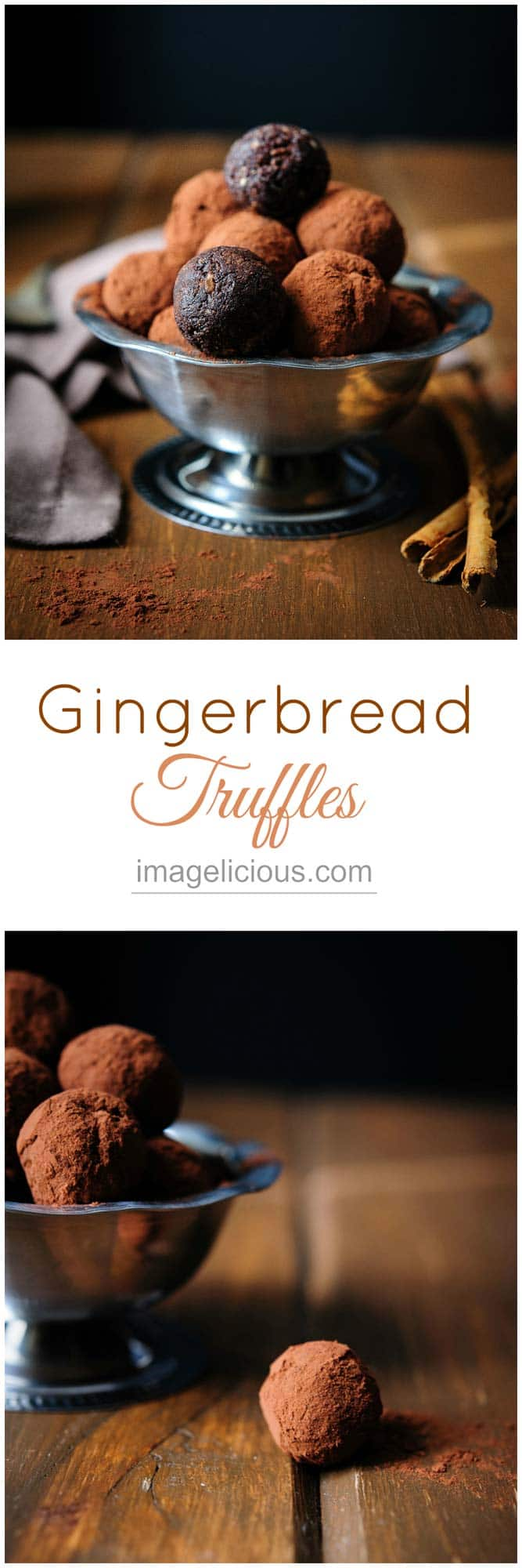 Gingerbread Truffles are delectable and addictive with perfect holiday flavours, no-one will know that these sweet and delicious treats are made out of dates, prunes and pecans. They are vegan and gluten-free. | Imagelicious #Holidays #Holidaybaking #Christmas #Christmasbaking #Gingerbread #Truffles #Vegan #Dates #Imagelicious #GlutenFree