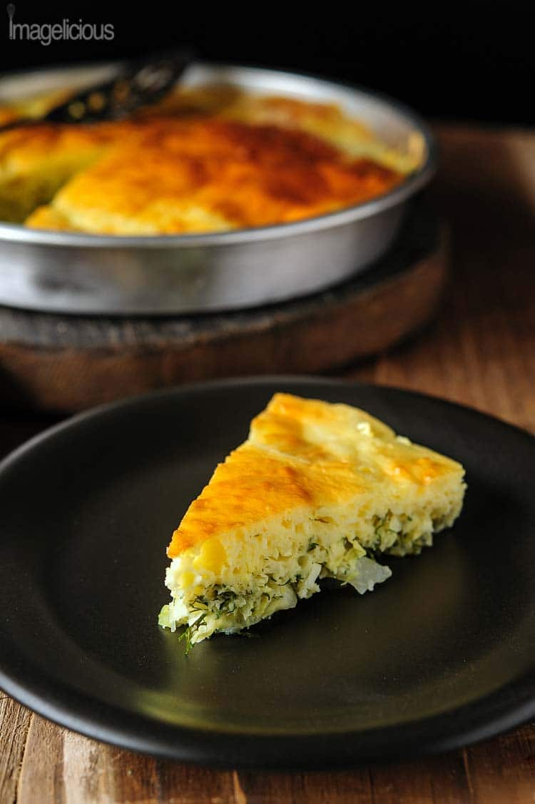 Cabbage Pie - cabbage, eggs, dill and quick mayonnaise based batter - delicious lunch or dinner perfect for any time of the year | Imagelicious