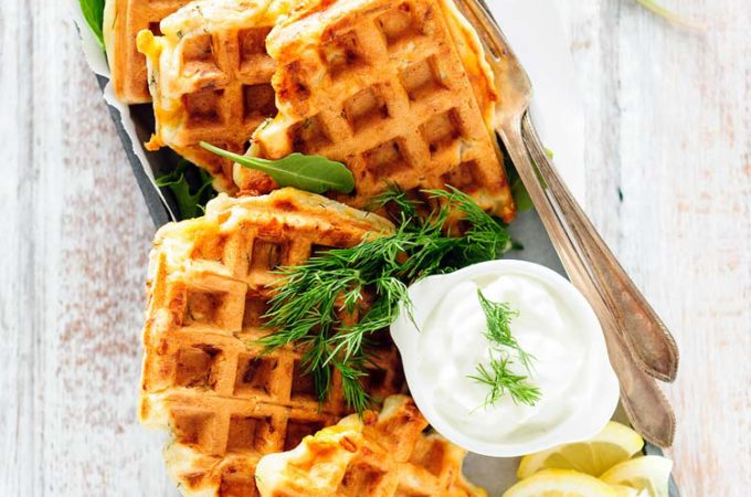 Smoked Salmon and Dill Waffles - perfect savoury breakfast or lunch. Elegant and delicious for a special occasion | Imagelicious