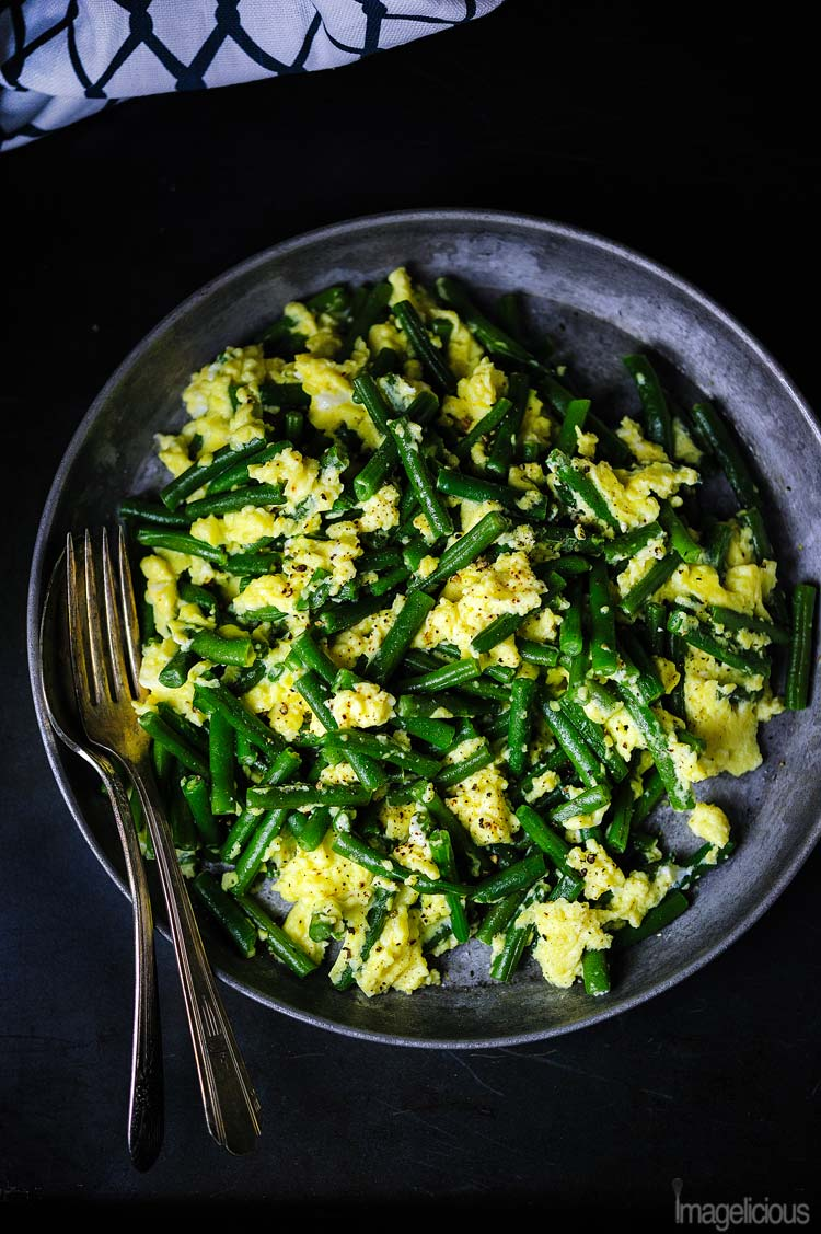 Light and easy Green beans with eggs are tasty, healthy, and gluten-free. It's a perfect recipe when you need to have a quick dinner on the table in 15 minutes | Imagelicious