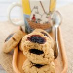 These soft and thick Brown butter, peanut butter and jam cookies are a delicious treat for a weekday snack or a weekend dessert. Chewy cookie with sticky sweet jam is a perfect combination of flavours and textures | Imagelicious