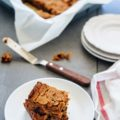 These Vegan and Gluten-free Blondies are not only delicious, but also healthy. Made with dates, maple syrup, peanut butter and chickpeas they will satisfy sweet tooth without leaving you feeling guilty | Imagelicious