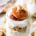 Caramelized Bananas and Granola Yogurt Parfaits are super quick, easy and delicious. They only take a few minutes to make and are perfect breakfast, snack or even dessert | Imagelicious