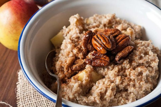 Apple Pie Oatmeal with Maple Candied Pecans | Imagelicious