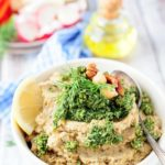 Chickpea and Eggplant Dip with Dill Pesto is full of bright and bold flavours, yet easy to make and very healthy. It's vegan and gluten-free and will satisfy even the pickiest eaters