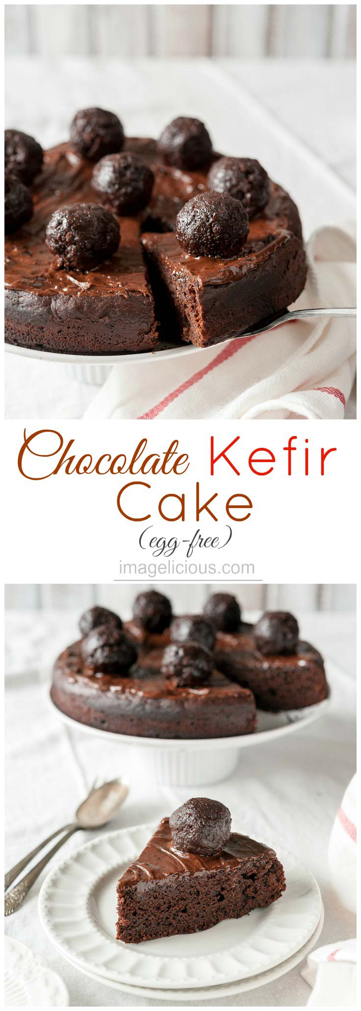 This Chocolate Kefir Cake is moist and delicious. It's lighter than regular chocolate cake but still has intense flavour and is perfect to end any meal. Great for Valentine's Day dessert | Imagelicious