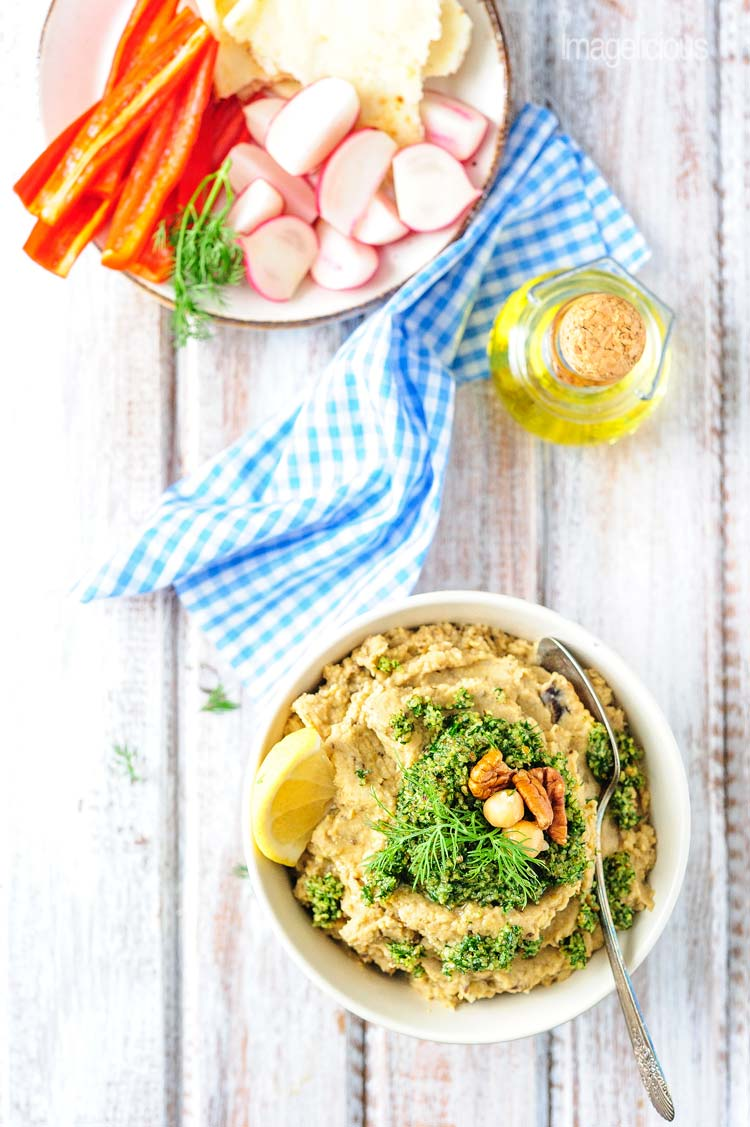 Vegan Chickpea and Eggplant Dip with Dill Pesto is full of bright and bold flavours, yet easy to make and very healthy. It's vegan and gluten-free and will satisfy even the pickiest eaters. Perfect appetizer or snack   Imagelicious