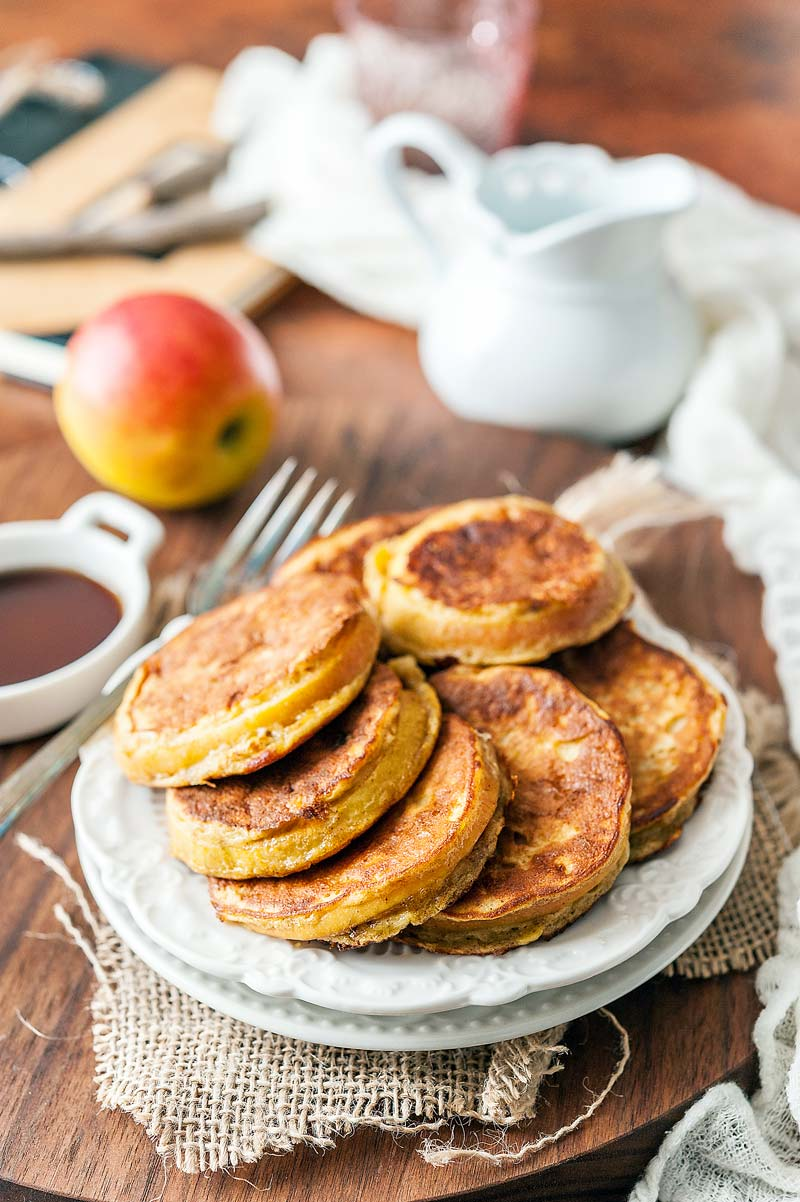 Gluten-free Apple-Banana Fritters taste like dessert but are perfect for a healthy breakfast. They are gluten-free, easy to make and have only a handful of ingredients | Imagelicious