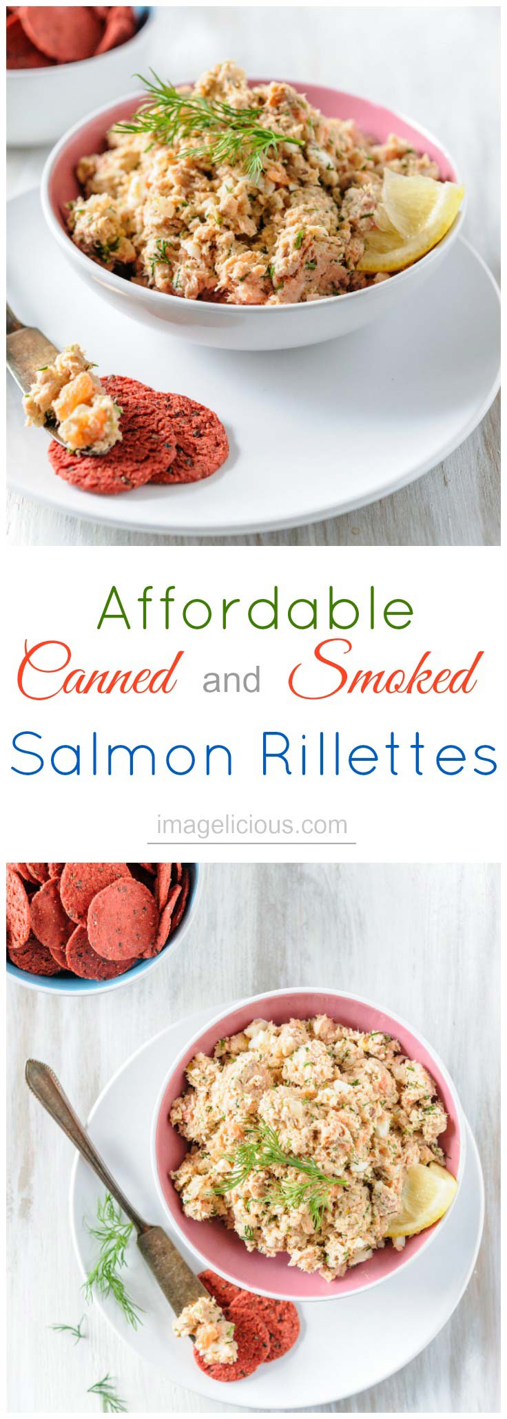 Affordable Canned and Smoked Salmon Rillettes is delicious, elegant and easy to prepare. Perfect to serve as an appetizer for a fancy dinner or family brunch   Imagelicious