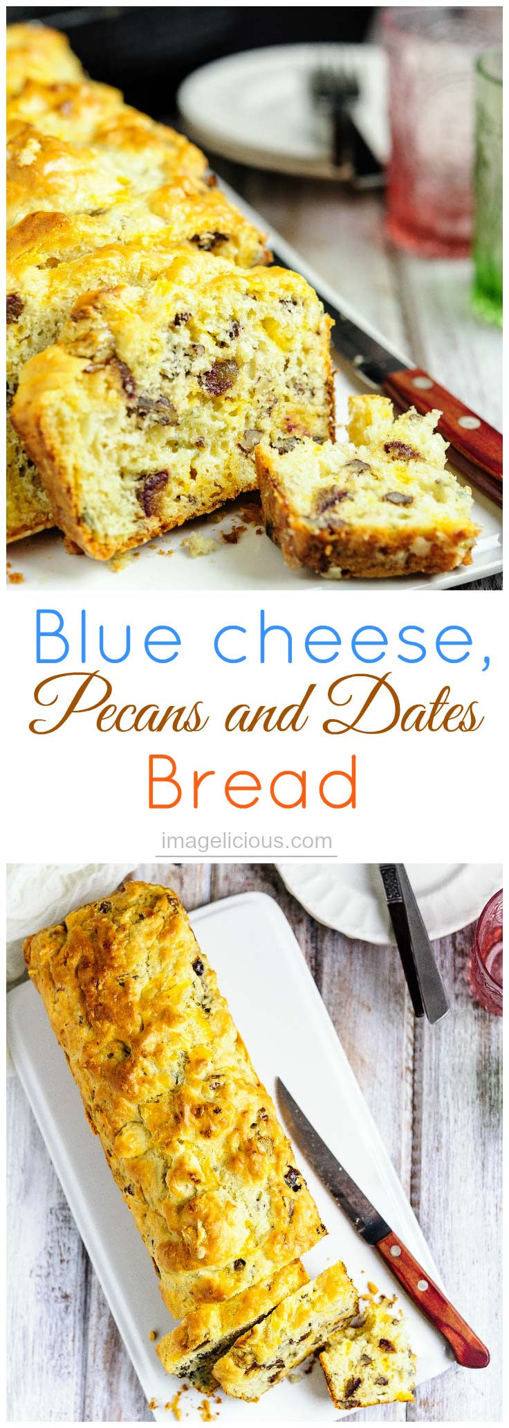 Blue cheese, pecans and dates bread is an excellent addition to a cheese platter. It's full of salty cheese, sweet dates and crunchy pecans - perfect to satisfy those sweet and salty cravings | Imagelicious