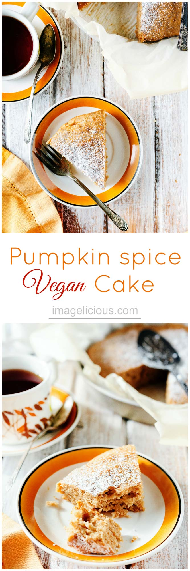 Pumpkin Spice Vegan Cake is soft and pillowy, delicate and wonderfully spiced, no-one would ever guess that it is vegan | Imagelicious