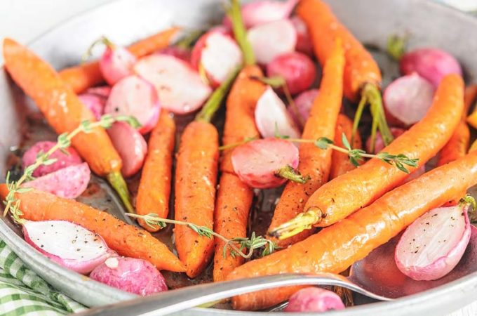 Roasted Radishes and Carrots with Thyme and Lemon