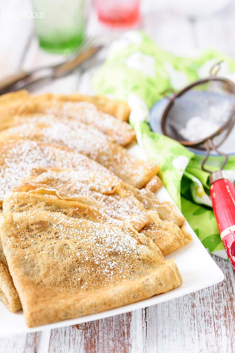 These Matcha Green Tea Crepes are delicate and thin. Flavoured with a hint of floral matcha green tea. Perfect for a lazy weekend breakfast or spring dessert. Great for Easter brunch   Imagelicious
