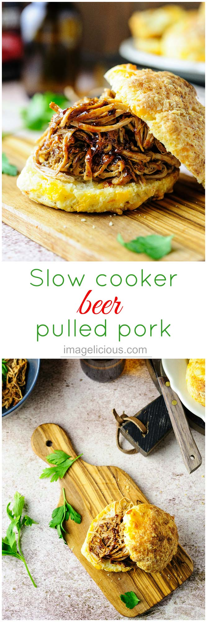 This Slow Cooker Beer Pulled Pork is easy to prepare, feeds a crowd, tastes delicious and is a little bit lighter than traditional recipes. Perfect for winter months and entertaining | Imagelicious