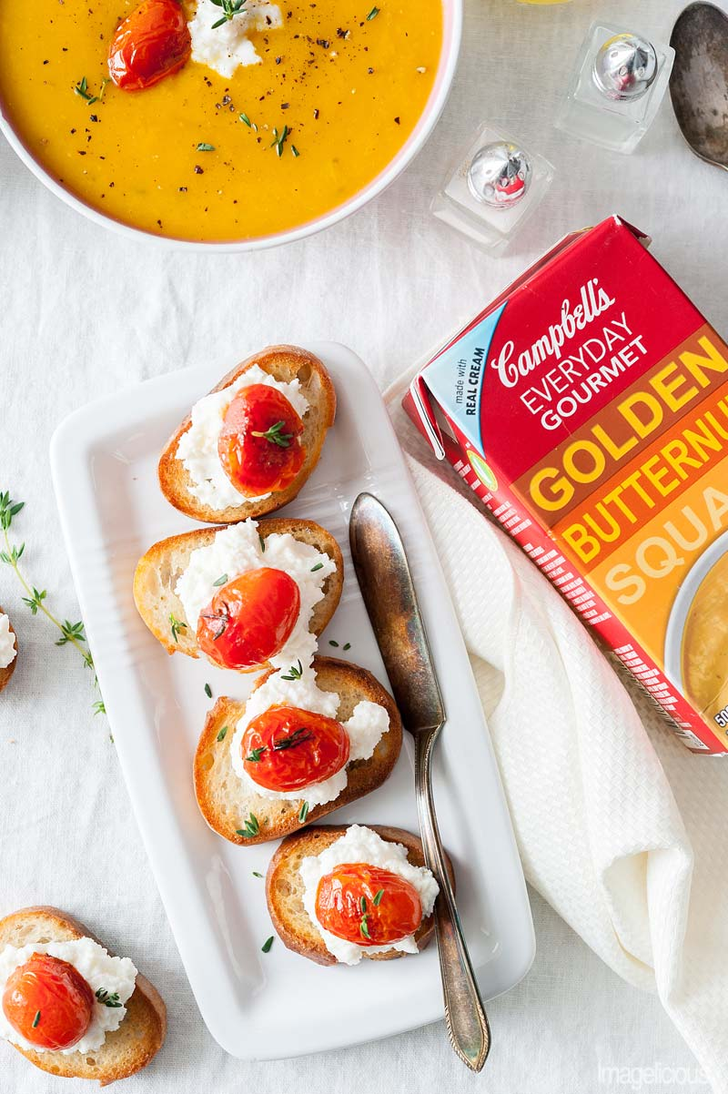 Tomato-Ricotta Bruschetta and Campbell's Everyday Gourmet Golden Butternut Squash Soup - smooth and rich soup served with crusty bruschetta topped with creamy ricotta and tangy tomatoes | Imagelicious
