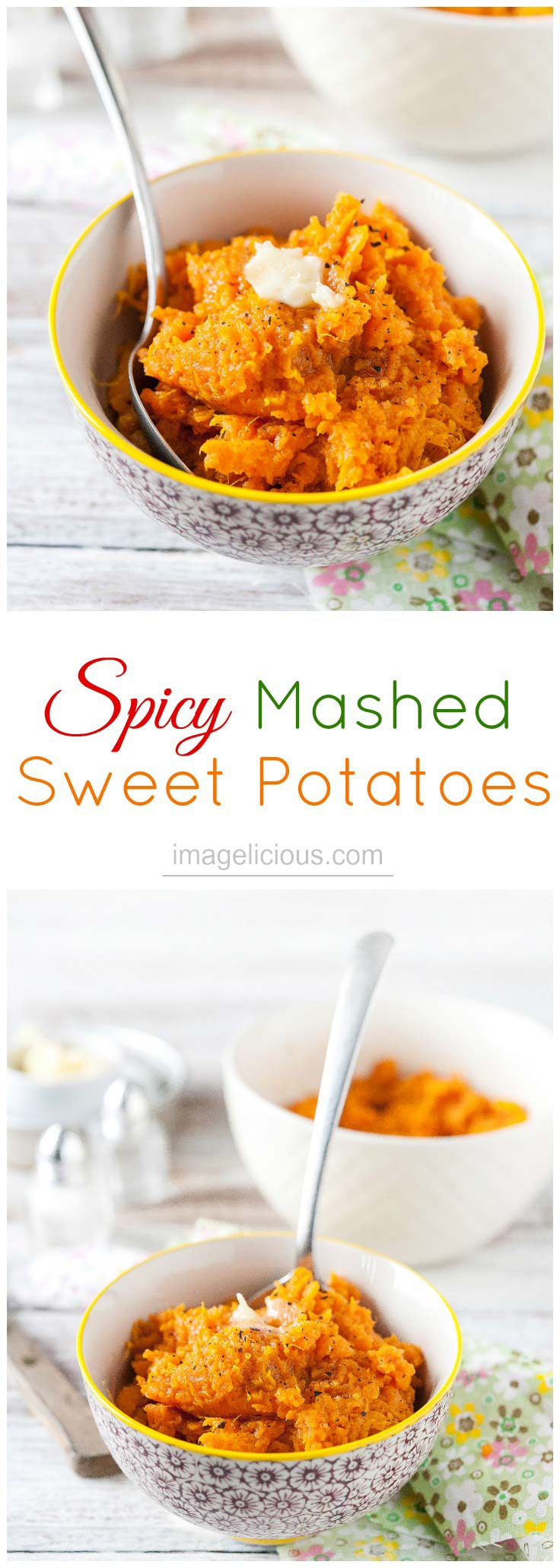 These Spicy Mashed Sweet Potatoes are an excellent side dish - sweet, savoury, and spicy they are a delicious accompaniment to your favourite protein. Made with regular or vegan butter they will satisfy any diet | Imagelicious