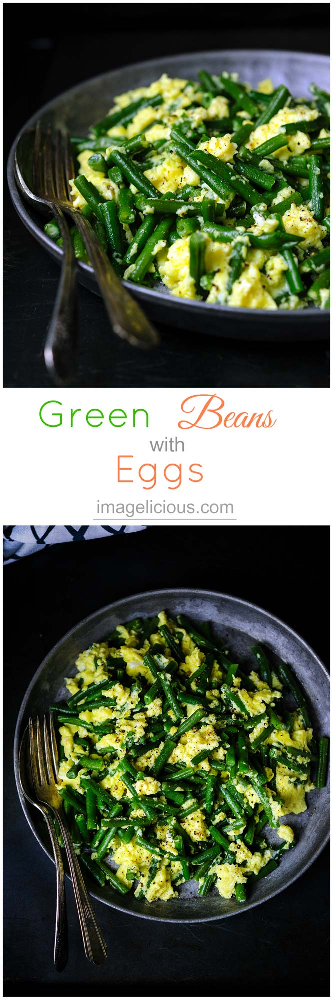 Light and easy Green beans with eggs are tasty, healthy, and gluten-free. It's a perfect recipe when you need to have a quick dinner on the table in 15 minutes   Imagelicious