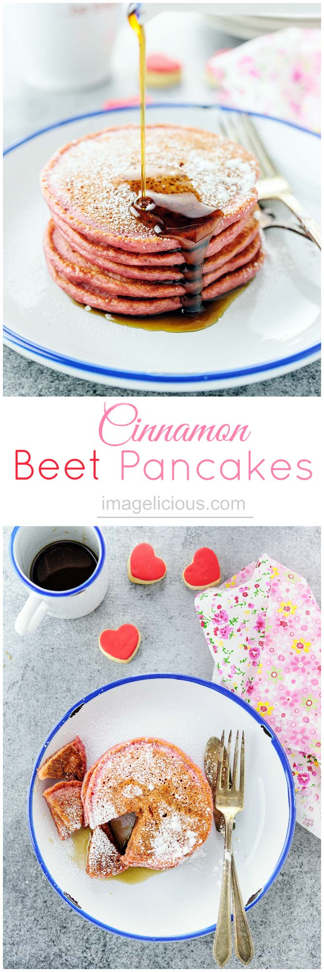 These beautiful pink Cinnamon Beet Pancakes are full of healthy beets and greek yogurt, yet you'll never know as they taste delicious. Perfect for a Valentine's Day breakfast or to make any breakfast special | Imagelicious