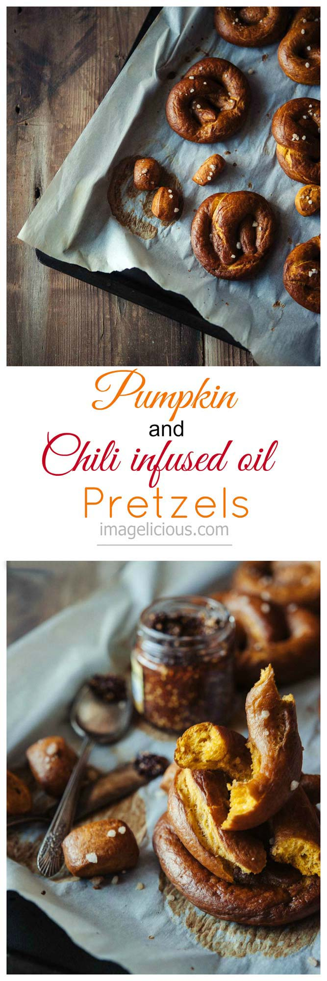 Easy Vegan Pumpkin and Chili infused oil Pretzels - easy, vegan, spicy and delicious pretzels, perfect for cozy fall weekends or any time of the year. Great snack or accompaniment to dinner or BBQ | Imagelicious