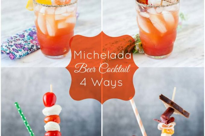 Michelada is a unique and refreshing beer cocktail for summer. It's a beer version of Bloody Mary made with tomato juice, beer, and spices. Learn how to serve Michelada Beer Cocktail with 4 different fun garnishes this Father's Day!