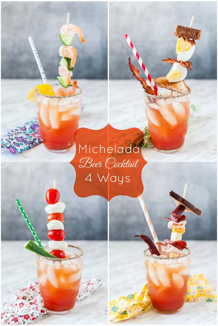 Michelada is a unique and refreshing beer cocktail for summer. It's a beer version of Bloody Mary made with tomato juice, beer, and spices. Learn how to serve Michelada with 4 different fun garnishes this Father's Day!