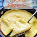 Sweet Omelet or Breadless French Toast is a delicious and unique breakfast! It only takes a few minutes to make and is perfect for elegant brunch. It's fluffy and lightly sweetened and almost like soufflé. Can be made gluten-free with rice flour | imagelicious.com #sweetomelet #eggrecipe #breakfast