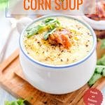 Easy Corn Soup can be made with both fresh or frozen corn for convenience. It's sweet, creamy, and delicious. Naturally gluten free and can be easily modified to be vegan. Cooked in a matter of minutes | Imagelicious.com #cornsoup #easysoup #frozencorn #soup