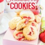 These Strawberry Cookies are very soft and have cake-like texture with little morsels of fruit, like little strawberry filled clouds or pillows. Absolutely perfect way to enjoy strawberries this summer | Imagelicious.com #strawberries #cookies #dessert #summer