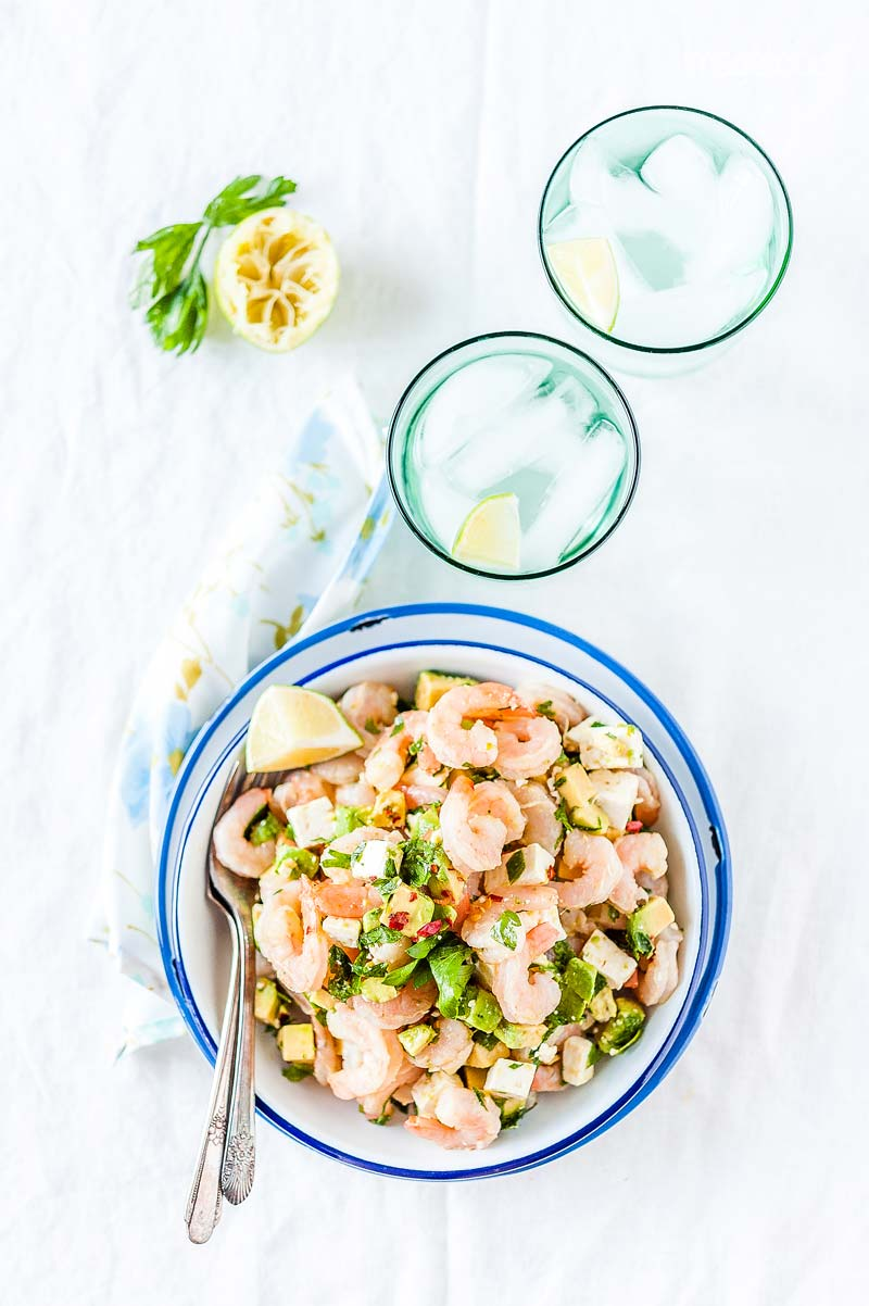 Shrimp, Avocado and Feta Salad is delicious, colourful, and healthy. It's a perfect lunch or dinner and can be made into a sandwich. The salad is easy and only takes a few minutes to prepare | Imagelicious