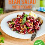 This Easy Bean Salad with Pecans is perfect for summer picnics or potlucks. It's made only with a handful of ingredients found in your pantry but has a really bright and vibrant flavour. It's healthy, filling, naturally gluten-free and vegan! Great for summer meal prep | imagelicious.com #mealprep #vegan #beansalad #picnic #picnicsalad #georgianbeansalad