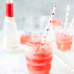 Refreshing Watermelon Mimosa is a perfect summer cocktail made with fresh sweet watermelon juice and sparkling wine (alcoholic or non-alcoholic). It's great to sip on a patio or have for brunch | Imagelicious