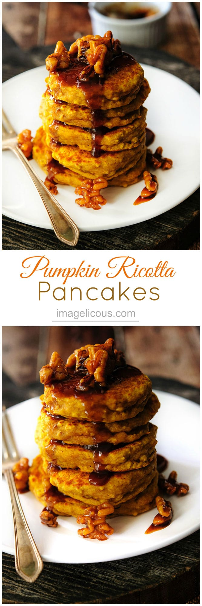 These Pumpkin Ricotta Pancakes are thick and dense, but still soft with a distinct ricotta flavour. They are perfect for a lazy autumn weekend morning brunch with delicious fall spices | Imagelicious