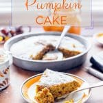 Vegan Pumpkin Cake is the ultimate fall comfort dessert! It's so easy, you only need one bowl and one spoon to make this cake | Imagelicious.com #vegan #cake #vegancake #pumpkin #pumpkinrecipe #fallbaking