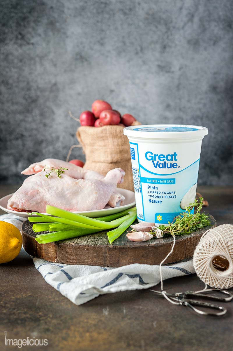 Yogurt isn't just for breakfast and snacks. Add great flavour and Great Value Yogurt to savoury dishes and enjoy this versatile ingredient during dinner. Greek-style Chicken Legs and Potato Salad made with Plain Great Value Yogurt will delight everyone | Imagelicious