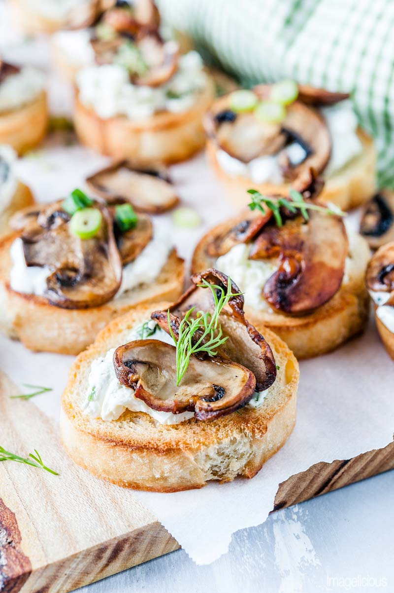 Mushroom Crostini with Cream Cheese and Dill is delicious and elegant appetizer that is really easy to make and is perfect for any time of the year | Imagelicious