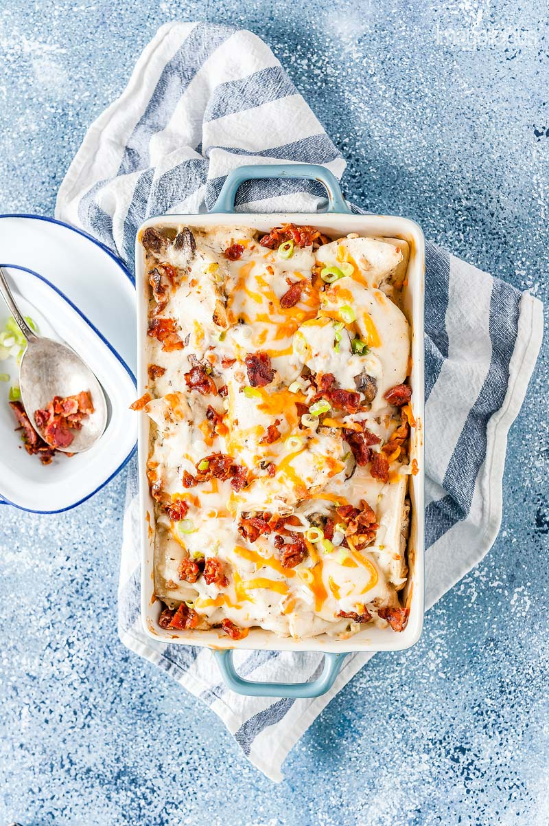 Everything is better with bacon, specially Great Value Bacon! Crumble some crispy bacon over cheesy and creamy Perogie Casserole for an ultra satisfying and cozy supper | #WeLoveGreatValue #Ad | Imagelicious