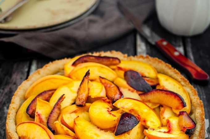 Peach-Plum Almond Tart