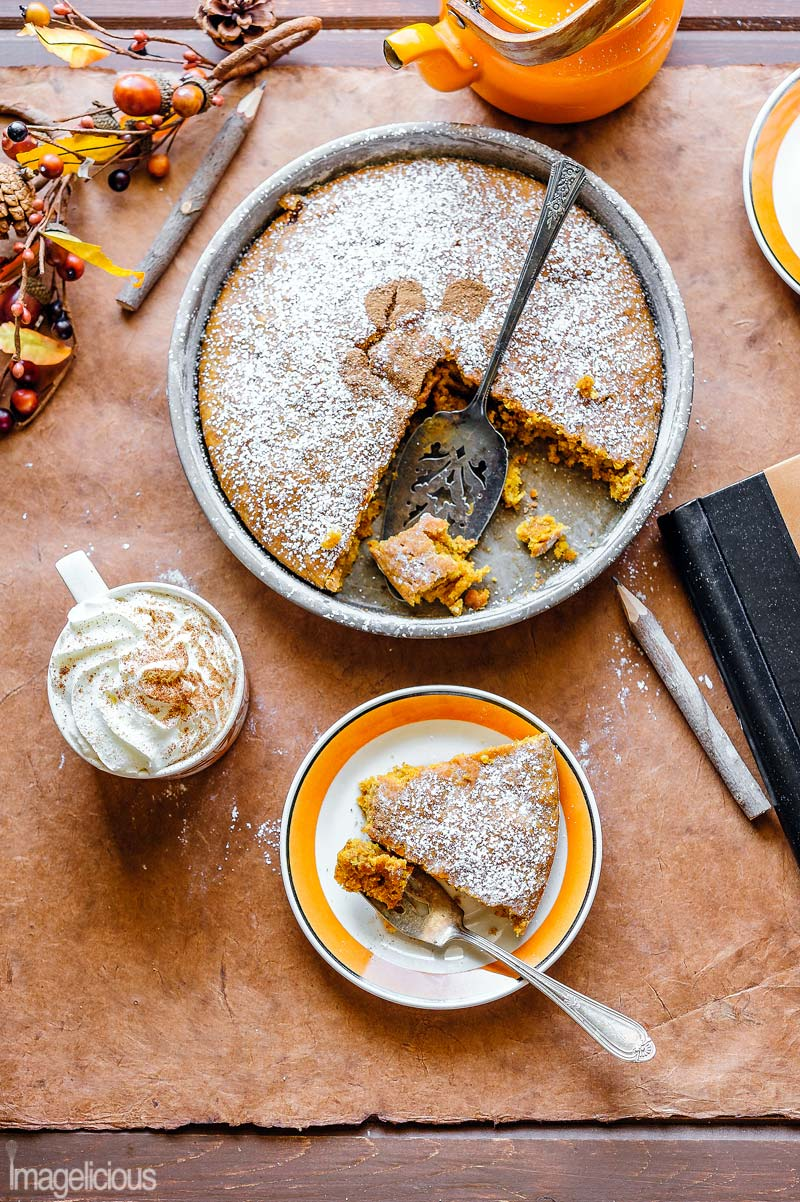 Vegan Pumpkin Cake is the ultimate fall comfort dessert! It's moist and spiced! Perfect with a cup of coffee or tea for breakfast or autumn afternoon snack. Enjoy this cozy dessert and you won't miss any butter or eggs in this recipe. It's so easy, you only need one bowl and one spoon to make this cake | Imagelicious