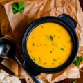 Pumpkin, Sweet Potato, Leek, and Coconut Milk Soup is light and delicious. Perfect for cold autumn evening or chilly spring afternoon. It's easy to make and healthy | Imagelicious