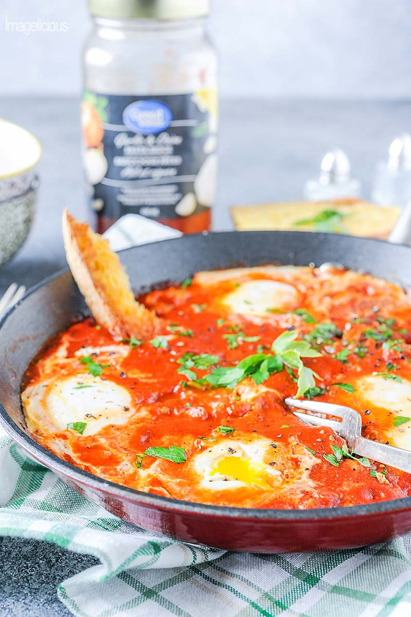 When you think about pasta sauce, you think pasta but there are so many other recipes that make use of this ingredient. From breakfast to snack to dinner Great Value pasta sauces are an excellent addition to your menu. Try an absolutely delicious Shakshuka made easy with Great Value Onion and Garlic Pasta Sauce and amazing Pizza Rollups with luscious Great Value Four Cheese Pasta Sauce. Use this underused condiment in an unusual and tasty way| #WeLoveGreatValue #ad | Imagelicious
