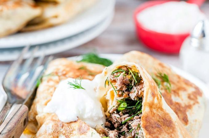 Beef and Dill Stuffed Crepes