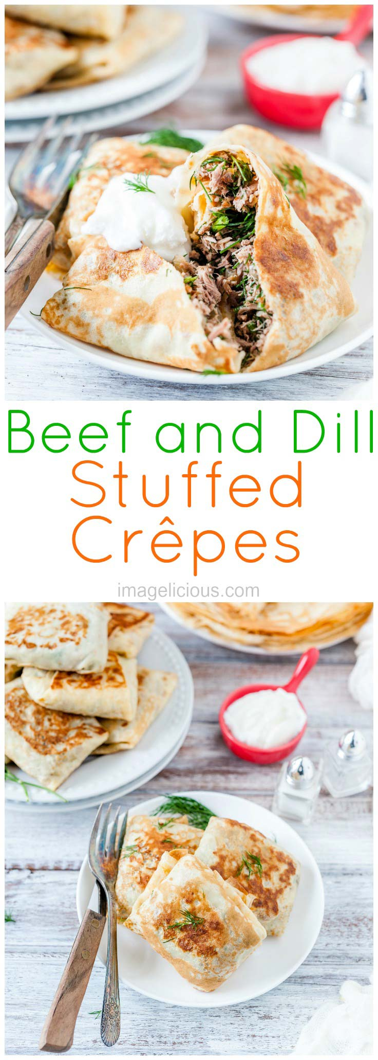 Beef and Dill Stuffed Crepes | crepes | russian | blini | blinchiki | beef | dill | herbs | dinner | lunch | global food | russian food | Imagelicious